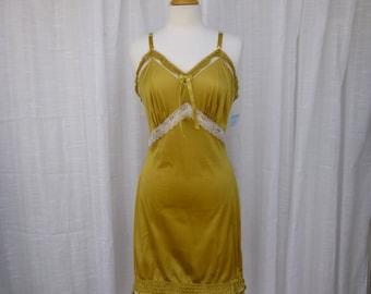 Slip Dress 36/38 M/L Gold Wheat Yellow Glam Garb Handmade USA Romantic Nightie Victorian Nightgown Vintage Hand Dyed Rockabilly Boho Hippie