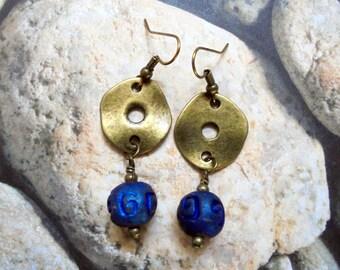 Royal Blue Raku and Brass Ethnic Earrings (2870)