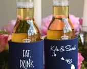 Beach Wedding Favors - Eat Drink and Be Maui'd Hawaii Nautical Wedding Can Coolers, Beer Insulators, Destination Wedding Favors for Guests