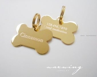 Gold Bone Pet Tag Custom Engraved Gold Plated or Nickel Silver Chrome Custom Personalized for Your Pet Dog or Cat Pet ID Standard Medium