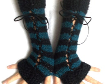 Fingerless Gloves Women Corset  Long Wrist Warmers Black Teal Blue  with Suede Ribbons Victorian Style Hand Knit
