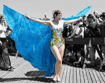 Under the Sea 8mm Silk Isis Wings, bellydance costume, hand painted, OOAK