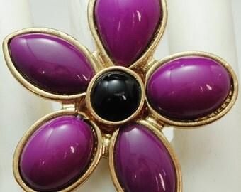 Purple Flower Ring/Statement Ring/Black/Gift For Her/Adjustable/Under 20 USD