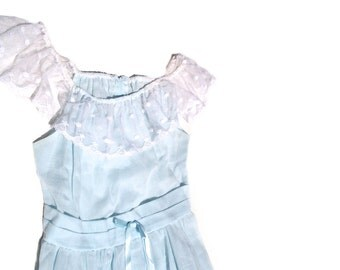 60s mod maxi pastel baby blue dress tiered off shoulder white lace empire waist baby doll 1960s vintage pale wedding guest dress kawaii S M