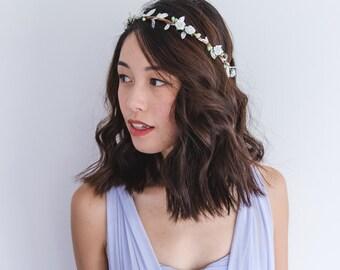 white & pale mint green flower hair wreath // bridal wedding flower crown headband rustic forest garden spring woodland headpiece