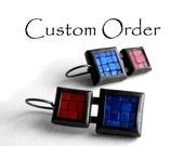 Custom Order for Barbara: Mosaic Earrings - Red Jasper, Lapis Lazuli and Oxidized Silver