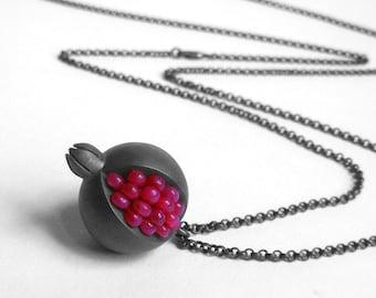 Pomegranate Pendant - Ruby Oxidized Silver Pendant - Pomegranate Silver Jewelry - pomegranate jewelry - ruby necklace - Pomegranate Necklace