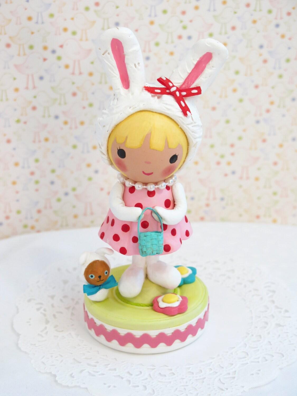 Bunny Birthday Cake Topper Easter Birthday Party Baby Shower
