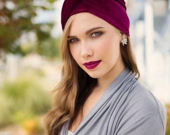 Burgundy Velvet Turban, Head Wrap, Chemo Hat, Alopecia Scarf, Hat & Scarf Set 505-06