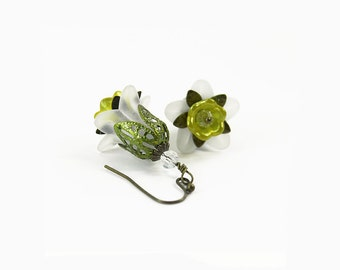 White and Lime Green Lucite Flower Earrings, Hand Painted Filigree, Hand Painted Lucite, Victorian Style, Steampunk, Boho Earrings