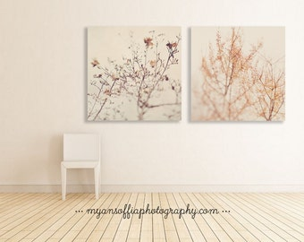 winter decor, nature photo, magnolia print, ginkgo tree art, nursery prints, minimalist, abstract, pale gray, white wall decor, orange