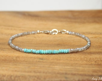 Sleeping Beauty Turquoise & Mystic Labradorite Bracelet, Sleeping Beauty Turquoise Jewelry, Blue Flash, December Birthstone