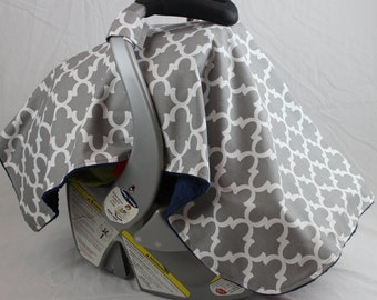 Sale! Gray Quatrefoil, Moroccan Style Print Carseat Canopy Cover - Choose Your Minky Color
