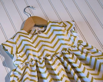 Gold Chevron Baby Doll Top/Dress (Large)