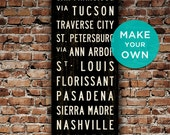 CUSTOM Subway Sign, Personalized Wall Art, Subway Art, Canvas Travel Poster, Typography Art, Word Art, Home Wall Decor, Travel Art. 20 x 60