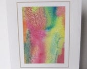 Hand painted  card pink orange yellow green abstract design  note card