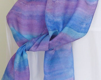 Hand painted silk scarf purple blue aqua tones striped 8x54 Canadian design