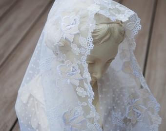 Saint Rosalia White Cowl Mantilla