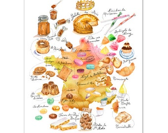 French food map, Illustrated map print, France art, Watercolor map painting, Colorful kitchen wall art, Food art, French map illustration