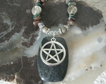 Green Marble Pentacle Necklace, wiccan jewelry pagan jewelry wicca jewelry mens jewelry celtic druid witchcraft witch pentagram necklace