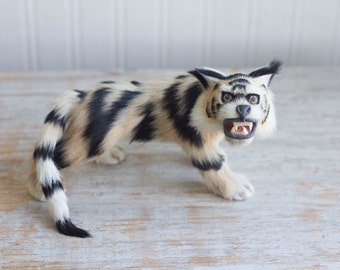 Vintage Fur Taxidermy Style Lynx Bobcat Cat Figurine, Striped Tiger Stuffed Animal, Tribal Home Decor