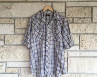 Vintage Plaid Shirt / 90's Western Redstone Shirt