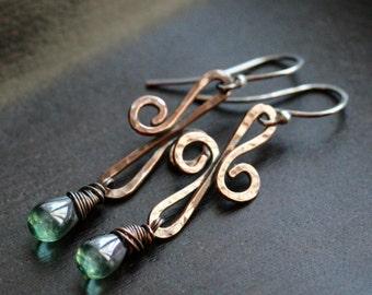 Long copper swirl earrings, emerald green Czech glass drop, oxidized copper, sterling silver, dangle, drop, beaded, Mimi Michele Jewelry