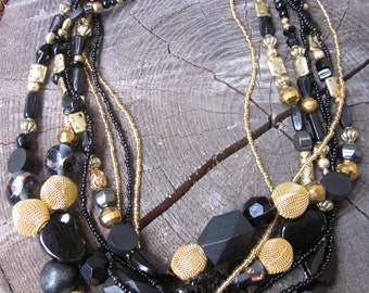 Chunky Bead Necklace, Statement Necklace, Chunky Necklace Statement, Multistrand Necklace Beaded Bib Necklace Bead Necklace Chunky Statement
