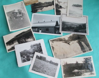12 VINTAGE PHOTOGRAPHS - Nature Landscapes Buildings - Black and White and Sepia Snapshots