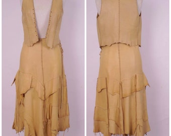 70s natural leather skirt and vest set hippie boho long tiered maxi skirt with corset top and vest hippy gypsy bohemian festival small