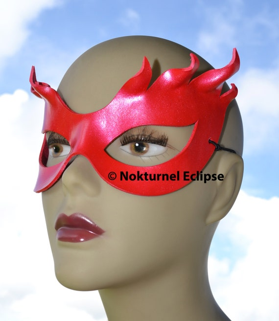 Poison Ivy Red Leather Mask Superhero Batman Female Villain Comic Halloween Geek Costume Masquerade Fetish Ball - Available Any Basic Color