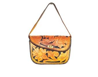 Vintage Tooled Leather Handbag / Purse