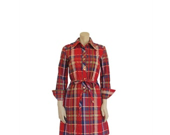1960s Dress • 60s Plaid Shirt Dress • Red Day Dress • S / M