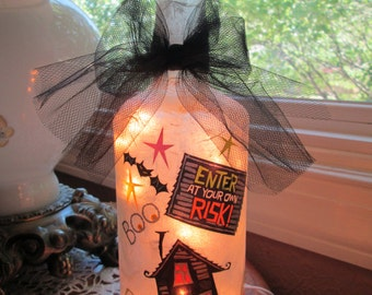 Halloween Lamp, halloween lights, wine bottle lamp, wine bottle lights, lighted bottles, lamp, lamps, decorated wine bottles, lighted bottle