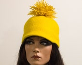 Felted baseball cap yellow black Felt hats millinery hat sport elegant wool Regina Doseth handmade Lithuania EU