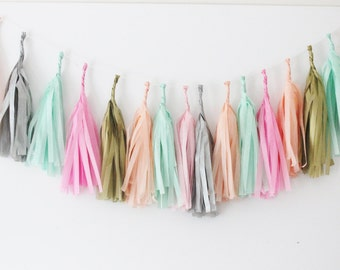 CORAL MINT PINK Gold Silver Tassel Garland /No Assembly Readymade Tissue Tassels Bunting Baby Shower Bridal Nursery Photo Prop Wedding Decor