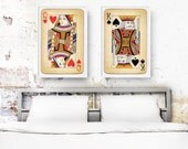 Original Wedding Gift, Bedroom Decor, Set of 2 Big Posters, King of Spades and Queen of Hearts, Playing Cards Prints, Love Posters