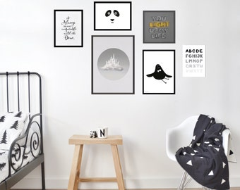 Gallery Wall Set of 6 Prints, Modern Nursery Wall Art, Monochrome Kids Room, Kids Room Decor, Playroom Decor, Children Wall Art,
