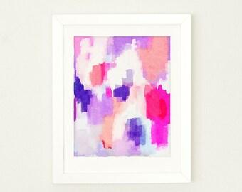 Watercolor Nursery Art, Abstract Watercolor Art Print, Girls Nursery Decor, Office Decor, Pink Nursery Wall Art, Coral Nursery Decor