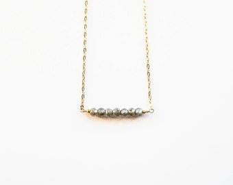 CLEARANCE | Labradorite and Gold Beaded Bar Necklace | 14k Gold filled Gemstone Necklace