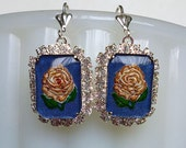 Gilded Roses // Gorgeous 1940s Intaglio Rose Cameos in Silver Frames w/ Swarovski Crystal, Hand Painted Pink Roses Art Deco Bohemian Bridal