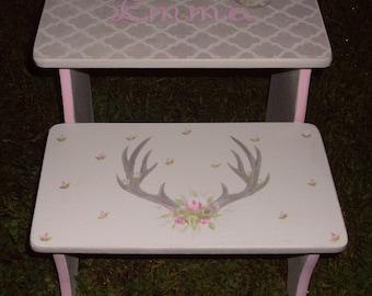 Deer Antlers, Girls Decor, Roses, Kids Steps & Stools, Antlers Roses, Tribal Hunters Sportsman, Woodland Step stools Nursery Beddding