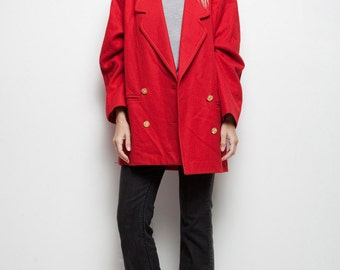 SALE red blazer jacket wool Guy Laroche vintage 80s double breasted vintage designer L XL large / extra large