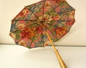 1940's Mid Century Vintage Antique Deco Floral Fabric Parasol