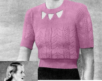 Petite 1930s Lace Jumper 32 to 34 Bust Good Needlework and Knitting 1938 Vintage Knitting Pattern Download