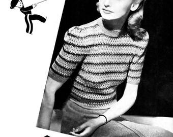 "Great Striped 1940s Jumper 34"" Bust Copley's 1492 Vintage Knitting Pattern"
