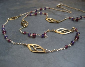 Garnet necklace, amethyst and garnet, leafs necklace, wire wrapped, gemstone necklace, branch necklace, 26 inch long, multi color, handmade