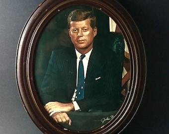 Vintage Photo John F. Kennedy JFK Framed Portrait ICONIC 1960 Photo Fabian Bachrach