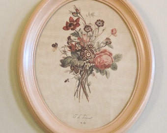 Oval Print Floral Bouquet Under Glass Framed in Peach T. L. Prevost Signed ca 1920s-1930s