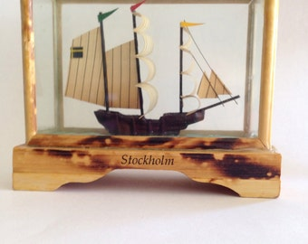 Model Sailing Ship Stockholm Souvenir in Glass Case